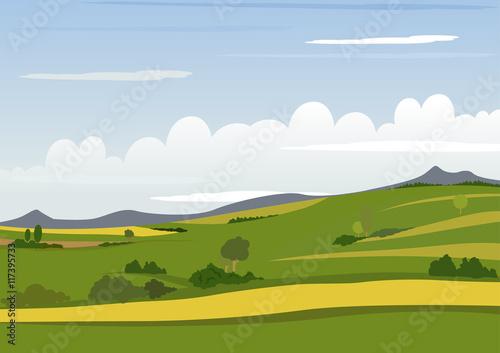 Spring Mountain Landscape - Background Illustration, Vector
