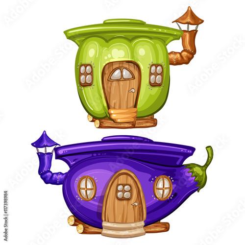 Zdjęcia na płótnie, fototapety, obrazy : House for gnome made from eggplant and caspicum
