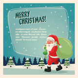 Merry Christmas concept represented by santa cartoon icon over landscape. Colorfull and vintage illustration inside frame.