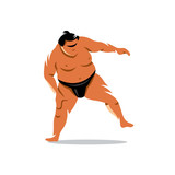 Vector Sumo Cartoon Illustration.
