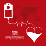 bag heart blood donation icon. Colorfull and flat illustration. Vector graphic