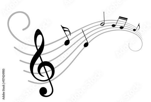 Fotobehang Muziek Music notes.