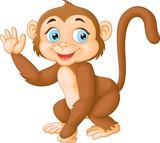 Cartoon funny monkey waving hand