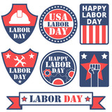 Set of different Labor day badges and stickers