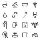 Vector line bathroom icon set