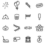 Vector line carnival icon set