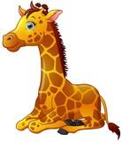 Happy giraffe cartoon sitting