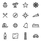 Vector line nautical icon set