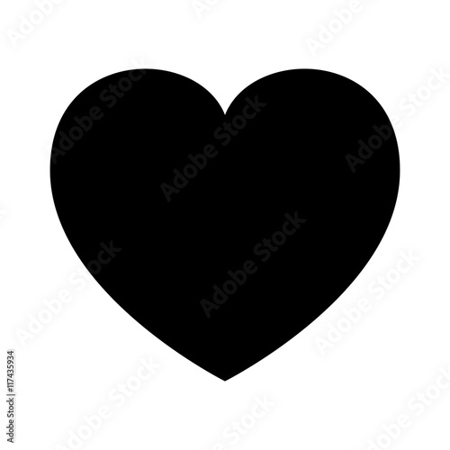 human heart, silhouette, outline love design. Vector illustration isolated on white background