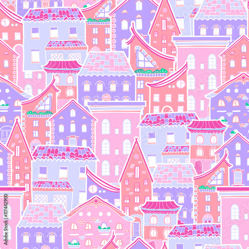 Fototapeta Hand drawn seamless pattern with houses, doodle house vector background, cute colorfull houses, EPS 8