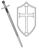 Crusaders Sword and Shield Outline