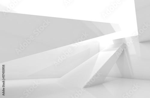 White room with beams. Digital 3d render