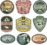 Vintage mountain badges, vector badge and patches collection for t-shirt print, embroidery, sticker