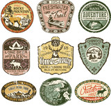 Fototapety Grunge vintage mountain badges, vector badge and patches collection for t-shirt print, embroidery, sticker