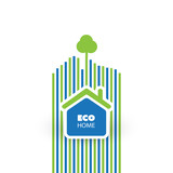 Green Eco Friendly Home Concept - Illustration in Editable Vector Format