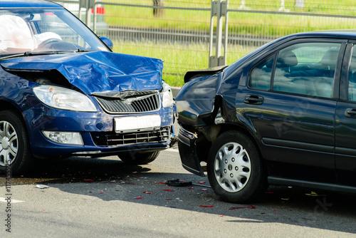 Car crash accident on street