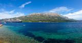 Big cruiser anchored in bay next to Korcula island, Croatia. - 117462705