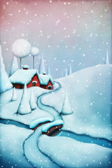 Greeting card Christmas with winter landscape and Christmas village