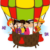 multicultural people on one balloon - vector illustration, eps