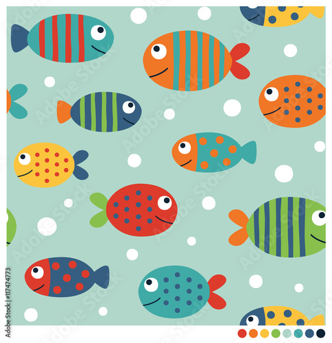 Colorful fish cartoon seamless vector pattern - 117474773