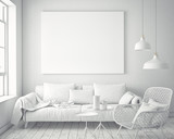 mock up blank poster on the wall of white hipster living room, 3D rendering, 3D illustration