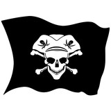 Pirate symbol Jolly Roger skull. vector flag