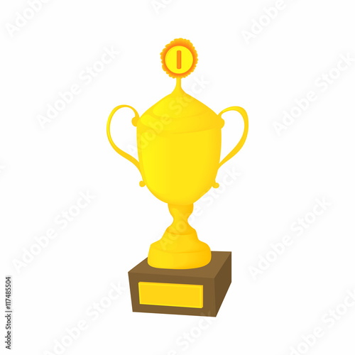 Foto op Canvas Golden cup icon in cartoon style isolated on white background. Win symbol