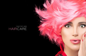 Fashion model girl with stylish dyed pink hair © Casther