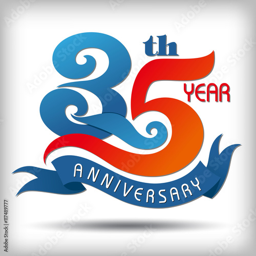 Poster Template logo 35th anniversary vector illustrator