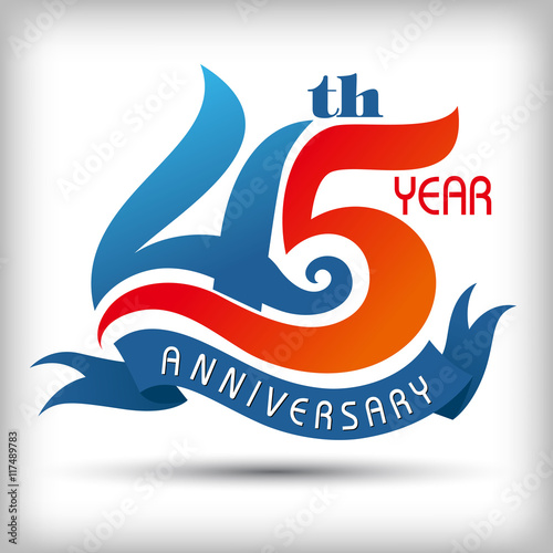 Template logo 45th anniversary vector illustrator плакат