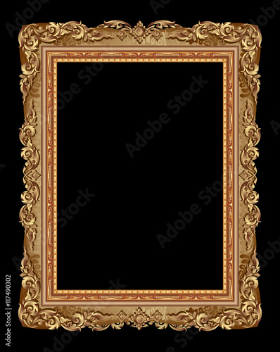 Poster Gold photo frame with corner line floral for picture, Vector design decoration pattern style