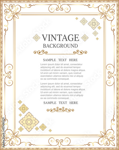 Stampa su Tela Gold photo frame with corner line floral for picture, Vector design decoration pattern style