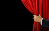 Hand open stage red curtain on black background - 117502375
