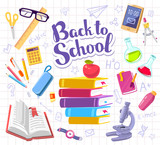 Vector colorful illustration with many school supplies on backgr