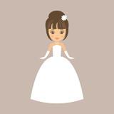 cartoon girl in white dress