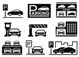 car on parking icons