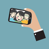 Groupfie A Group Selfie By Phone Vector Illustration