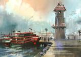 fishing boat in harbor,digital painting