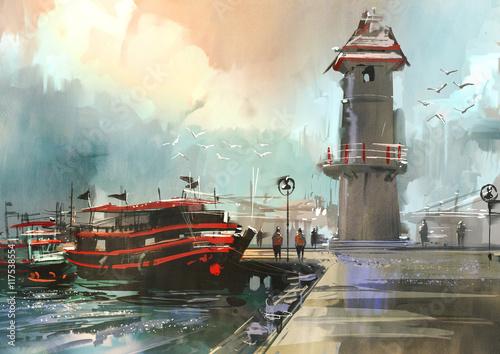Fototapeta fishing boat in harbor,digital painting