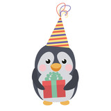 Cute penguin with a gift