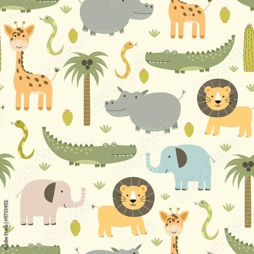 Cotton fabric Safari animals seamless pattern with cute hippo, crocodile, lion