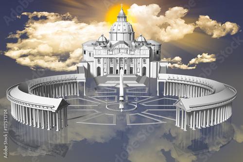 Fototapeta Piazza San Pietro in Città del Vaticano sospesa fra terra e cielo con sullo sfondo il sole fra le nuvole..
