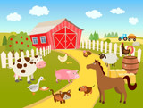 cartoon farm scene illustration with domestic birds, animals, farmhouse, tractor