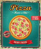 Vintage Pizza poster design with vector pizza.