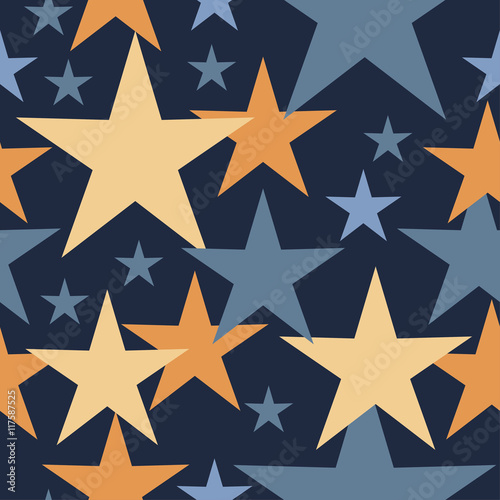 Fototapeta Seamless vector background with decorative stars. Print. Cloth design, wallpaper.