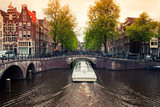 Amsterdam canals with boat