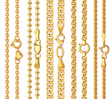 Set of realistic vector golden chains with clasp
