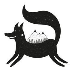 Vector black and white illustration with fox, mountains and pine forest
