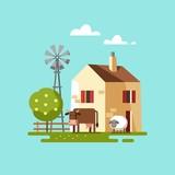 Farm house. Vector illustration.