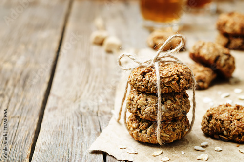 Poster banana oat sunflower seeds vegan breakfast cookies